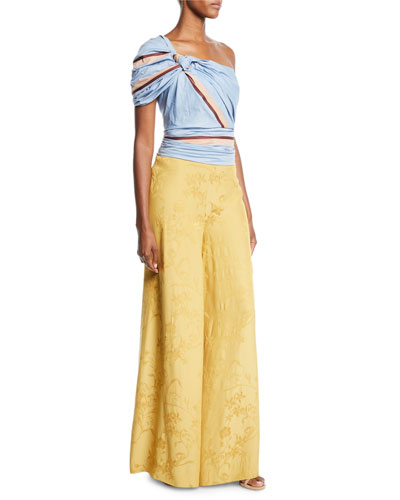 One-Shoulder Maldives-Stripe Print Fitted Ruched Top and Matching Items