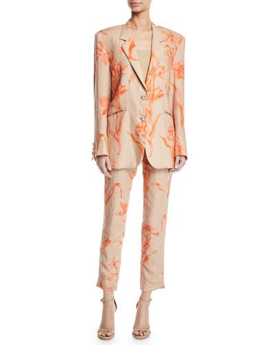 La Charanga Floral-Print Linen Two-Button Blazer and Matching Items