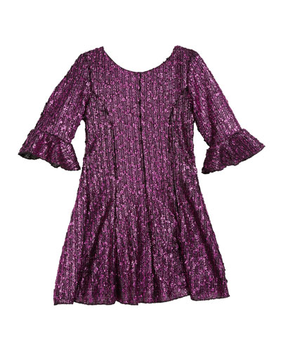 Viv Boucle Knit Fir-and-Flare Bell-Sleeve Dress, Size 4-6X  and Matching Items