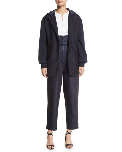 Reversible Plainweave Two-Button Hoodie Blazer  and Matching Items