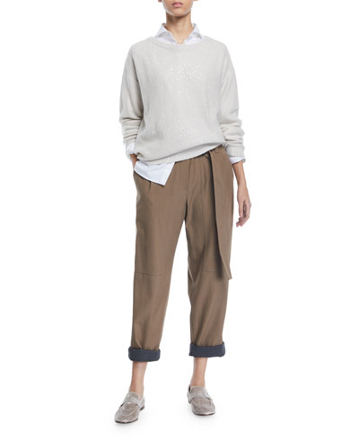 Shimmered Cashmere Ballet-Neck Sweater and Matching Items