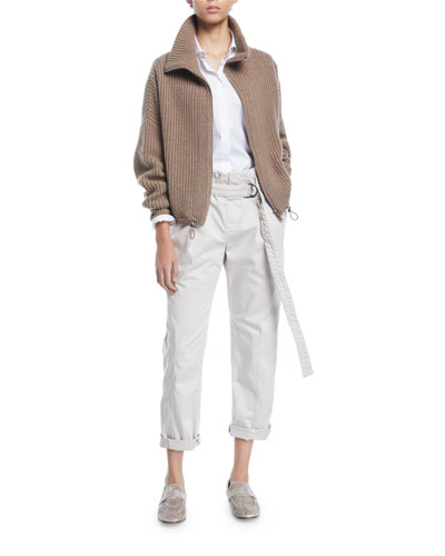 Paperbag-Waist Straight-Leg Cotton Pants w/ D-Ring Belt and Matching Items