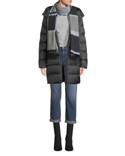 Printed Chevron Cocoon Puffer Coat, Petite and Matching Items