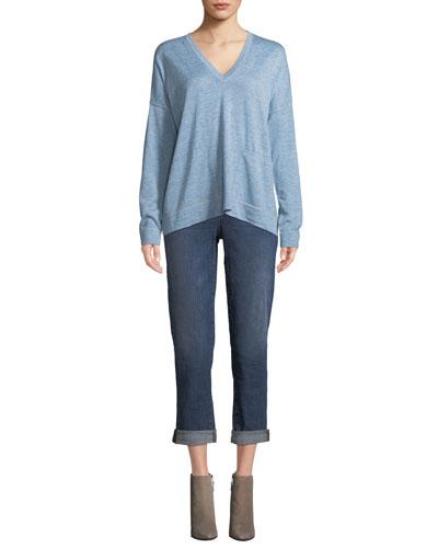Fine Tencel-Alpaca Topstitch V-neck Pullover Sweater, Petite and Matching Items