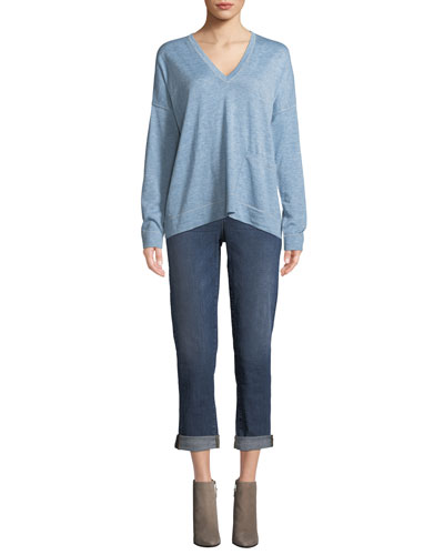 Fine Tencel-Alpaca Topstitch V-neck Pullover Sweater, Plus Size and Matching Items