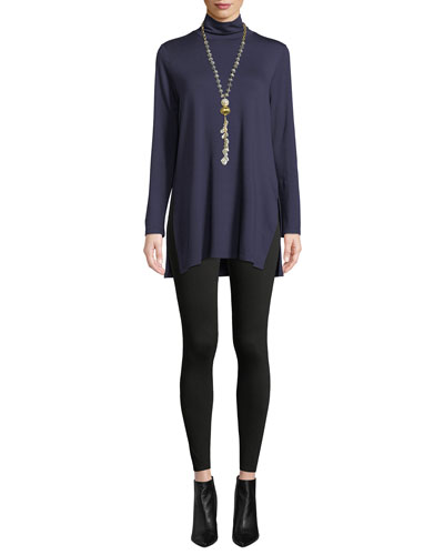 Mock-Neck Terry Long Tunic Sweater, Petite and Matching Items