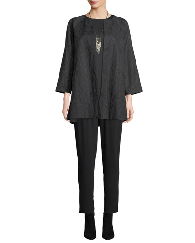 Shimmer Jacquard Long Open-Front Jacket and Matching Items