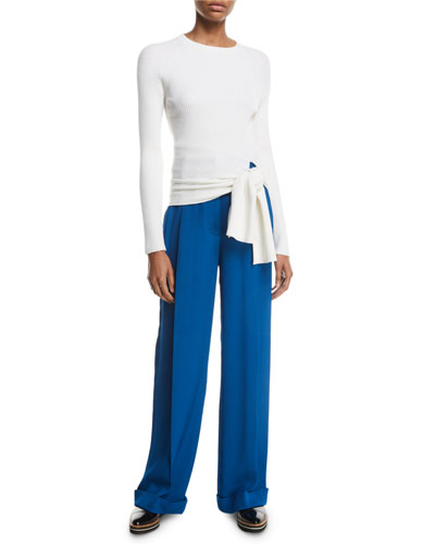 Ribbed Pullover Sweater with Waist Tie and Matching Items