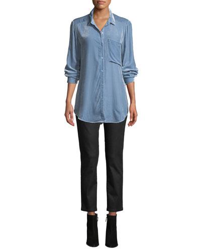 Velvet Long-Sleeve Pocket Shirt and Matching Items, Petite