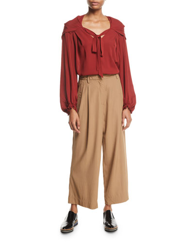 V-Neck Full-Sleeve Silk Blouse and Matching Items