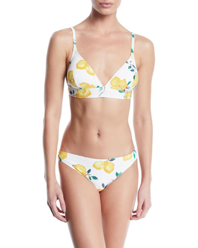 lemon-print triangle bikini swim top and Matching Items