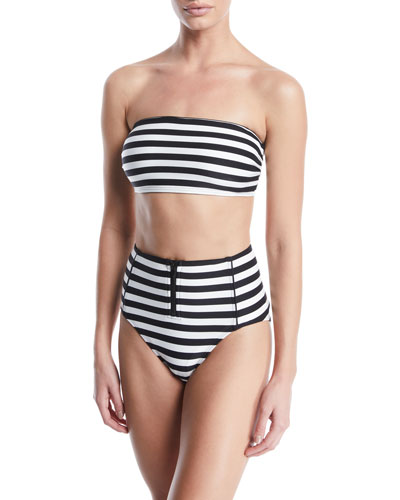 striped bandeau bikini swim top and Matching Items