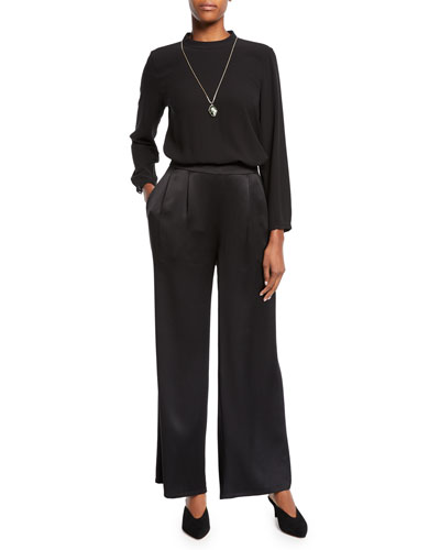 Mock-Neck Silk Crepe Blouse and Matching Items