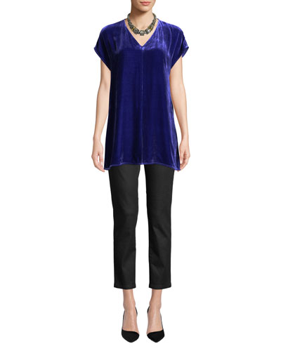 Velvet V-Neck Short-Sleeve Tunic and Matching Items