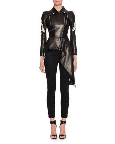 Eyelet-Embroidered Waterfall-Hem Leather Biker Jacket and Matching Items