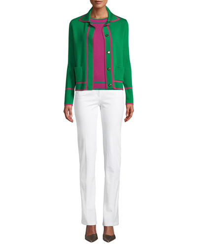 Snap-Close Wool Cardigan w/ Contrast Trim and Matching Items