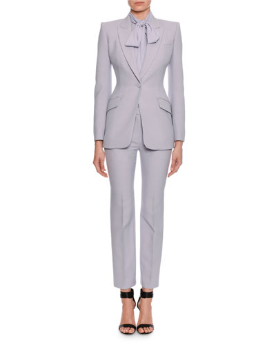 Fitted Flap-Pocket Wool-Silk Blazer and Matching Items