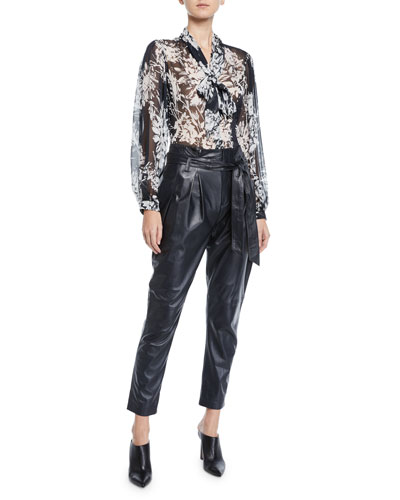 Cleone Tie-Neck Long-Sleeve Semisheer Silk Blouse and Matching Items