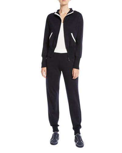 Zip-Front Hooded Cashmere-Blend Jacket w/ Contrast Trim and Matching Items