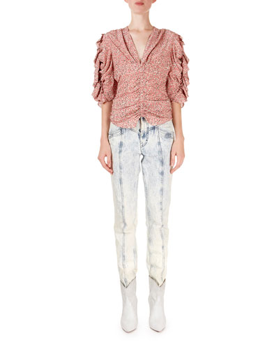 Andora Floral Ruched V-Neck Blouse and Matching Items