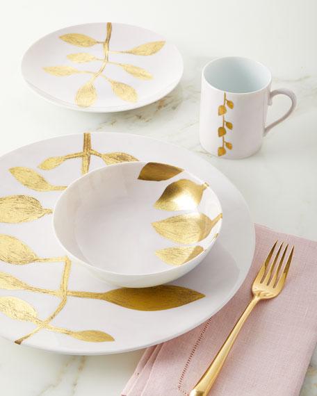 Daphne Camelia Gold-Leaf Dessert Plate, Pink