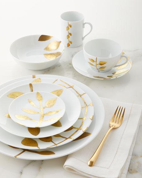 Daphne White Gold-Leaf Dinner Plate