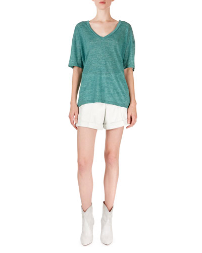 Maree Heathered V-Neck Short-Sleeve Tee and Matching Items