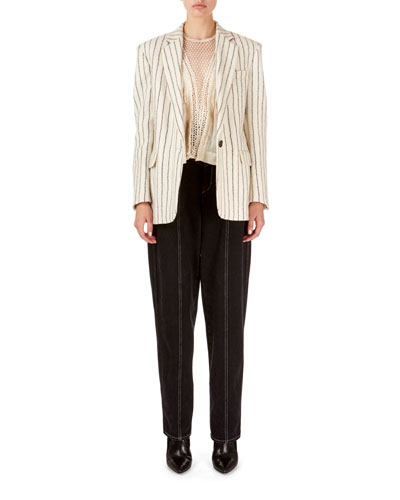Elder Pinstriped Boyfriend Blazer and Matching Items