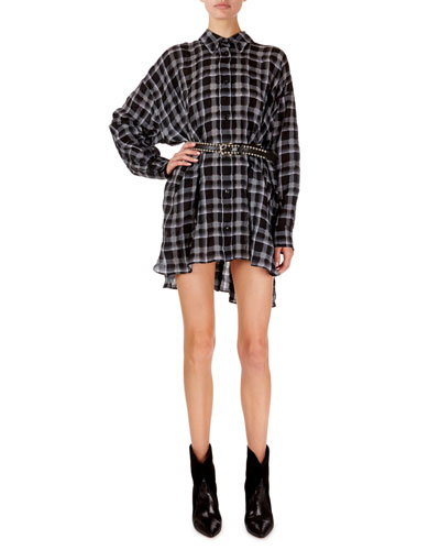 Albao Checked Organza Oversized Tunic and Matching Items