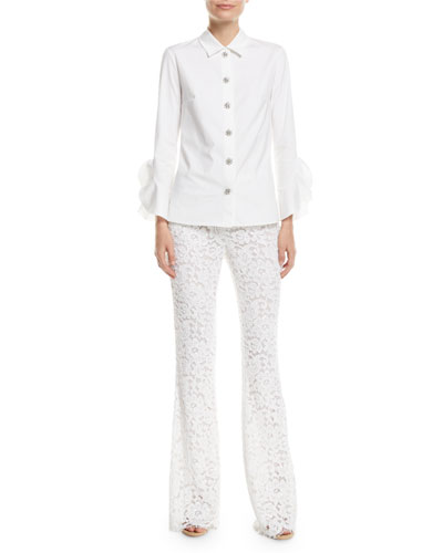 Jewel-Buttons Long-Sleeve Classic Stretch-Poplin Shirt and Matching Items