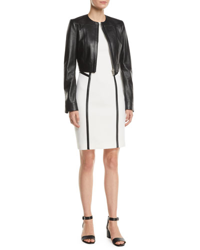 Zip-Front Cropped Plonge Leather Jacket and Matching Items