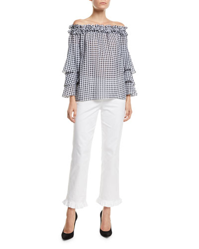 Off-the-Shoulder Tiered-Sleeve Gingham Blouse and Matching Items