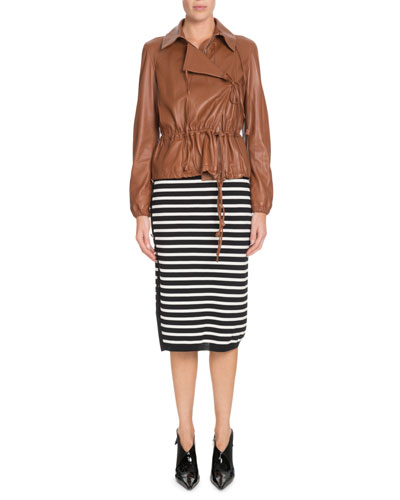 Livila Hooded Drawstring-Waist Calf Leather Jacket and Matching Items