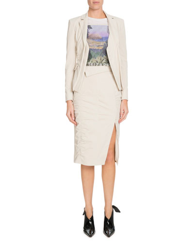Notched-Lapel Ruched Blazer w/ Vest Underpinning  and Matching Items
