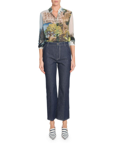 Button-Front Landscape-Print Silk Blouse and Matching Items