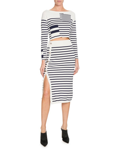 Crewneck Long-Sleeve Patchwork Striped Cropped Sweater and Matching Items