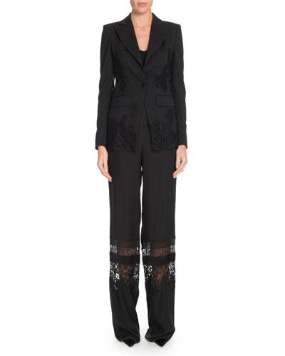 Tonal Lace One-Button Wool Blazer w/ Lace Panels and Matching Items