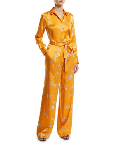 Essential Floral-Print Button-Front Long-Sleeve Silk Blouse and Matching Items