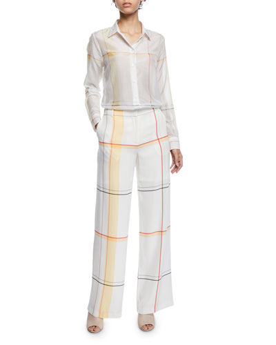 Essential Long-Sleeve Multi-Stripe Silk Blouse and Matching Items