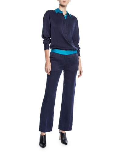 Margery Long-Sleeve Blouse with Contrast Collar and Matching Items