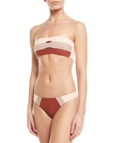 Tricolor Hipster Bikini Bottom w/ Colorblock Front and Matching Items