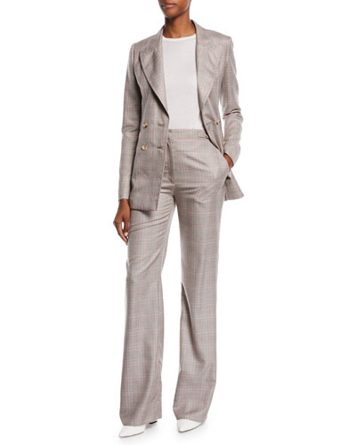 Angel Double-Breasted Cashmere Plaid Suiting Blazer and Matching Items