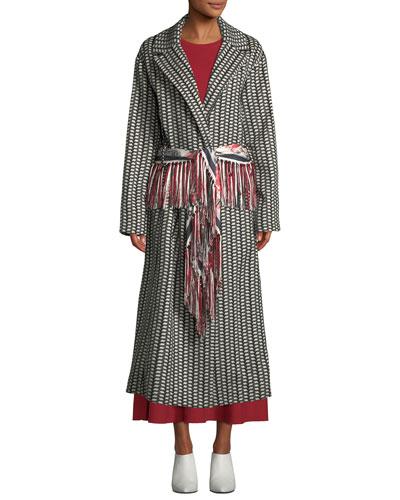 Jiminez Poncho-Print Mid-Calf Cashmere Coat and Matching Items