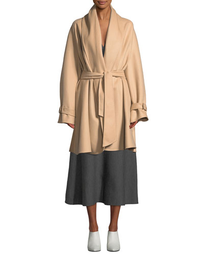 Double-Face Light Cashmere Coat w/ Self-Belt  and Matching Items