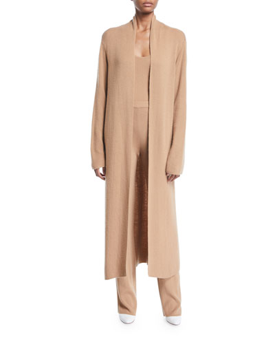 Lorona Open-Front Long Thin Cashmere Duster Cardigan  and Matching Items