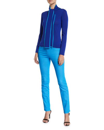 Long-Sleeve Contrast Trim Neck-Sash Wool Pullover Top and Matching Items