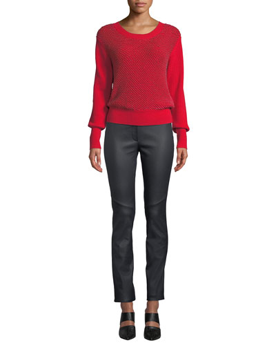 Crewneck Sequin Ribbed Wool-Cashmere Pullover  Sweater and Matching Items