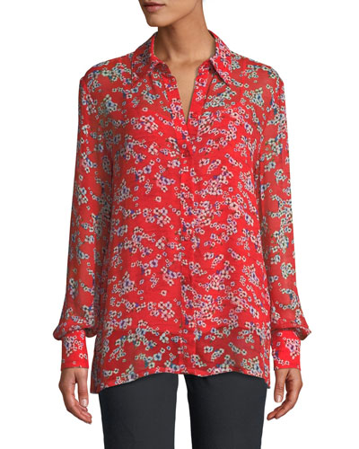 Long-Sleeve Small Floral-Print Sheer Viscose Blouse w/ Tank and Matching Items