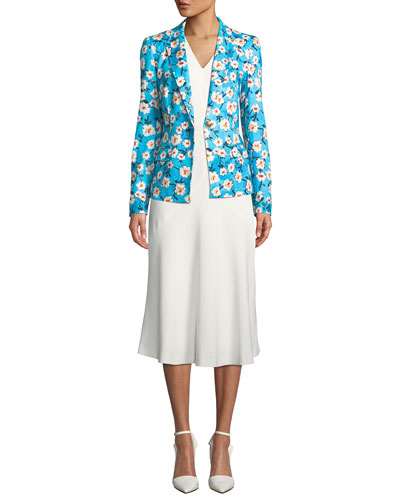 One-Button Floral-Print Jersey Jacket  and Matching Items
