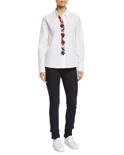 Fringe & Floral-Embroidered Placket Button-Down Cotton Shirt and Matching Items